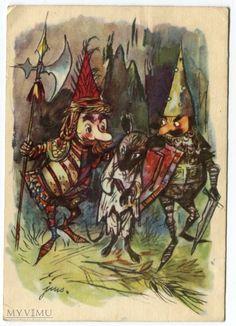 Jan Marcin Szancer szczur... w Pocztówki Artystyczne w MyViMu.com Children's Literature, Vintage Children, Gnomes, Illustrators, Rooster, Fairy Tales, Folk, Painting, Animals