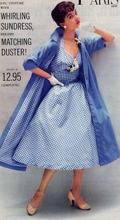 ~Gingham goes from innocent to alluring in this beautiful 1950s dress with matching coat~