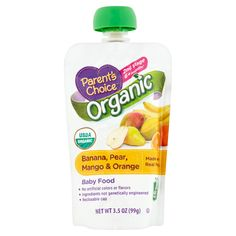 Parent's Choice Organic Banana, Pear, Mango & Orange Baby Food 2nd Stage 6+ Months, 3.5 oz