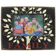 """Green Tree Gallery 7"""" x 5"""" Red, Cream & Red Family Frame with Tree 