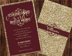 Champagne and Burgundy Wedding Invitations by Joyinvitations