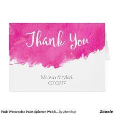 Pink Watercolor Paint Splatter Wedding Thank You Card