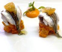 Alici di lampara marinate con mozzarella di bufala, limone candito e panzanella al pomodoro Chef R.Lizzardi