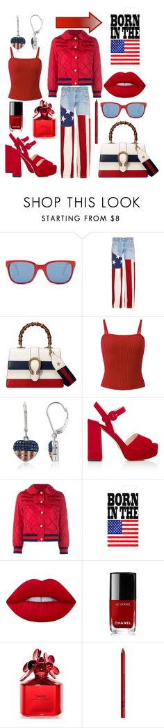 """""""USA!🇺🇸"""" by mandimwpink ❤ liked on Polyvore featuring Polo Ralph Lauren, RVDK, Gucci, Prada, Casetify, Lime Crime, Chanel, Marc Jacobs, NYX and USA"""