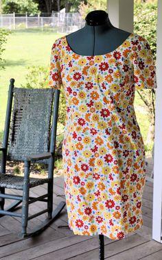 1970 Vintage Shift Dress/70s Summer Retro Shift Dress/70s Cotton Shift Size L to XL #etsy #vintagedresses