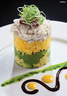 Chefs Ying Aikens and Gabe Ochoa at Next Wood Fired Bistro and Vino Bar in Colleyville have just the answer to help us ease into fall, with the Crab Mango Avocado Tower, 360 West Magazine, September 2016 #eatdrink #recipes #crabrecipes #mangorecipes #avocadorecipes #nextwoodfired