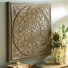 Distressed Ivory Floral Medallion Tile | Kirklands