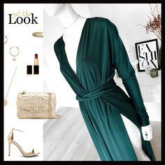Długa sukienka z rozcięciami i kimonową górą w kolorze ciemnej zieleni, posiada zewnętrzny pasek, który daje różne możliwości przewiązania i gumkę w pasie. Materiał jest lejący i rozciągliwy. Sukienka jest stylowa i elegancka.   Long Dark green dress Jumpsuit, Green, Dresses, Fashion, Dress, Overalls, Vestidos, Moda, Fashion Styles