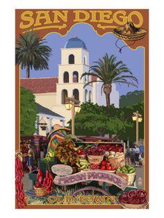 San Diego, California - Old Town Premium Poster