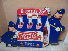 Vintage Nos Pepsi Cola Double Dot Pete Store Advertising Fan Pull Hanging Sign!