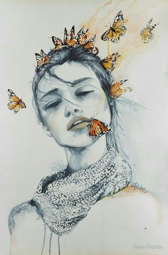"Art Inspiration: Lovely Watercolour Illustration ""Butterfly Kisses"" by Sara Riches via Redbubble. Kunst Inspo, Art Inspo, Art And Illustration, Watercolour Illustration, Butterfly Illustration, Animal Illustrations, Illustrations Posters, Drawing Eyes, Painting & Drawing"