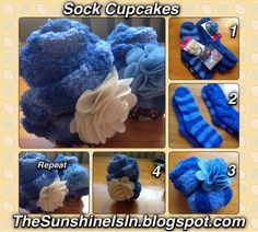The Sunshine Is In: How To Make A Sock Cupcake - With Demo. Click the pic to see how easy it really is to make fuzzy socks look like cupcakes!