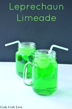 Leprechaun Limeade - Easy and delicious Saint Patrick's treat that looks totally awesome.