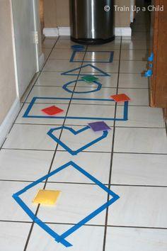 Shape Toss, Hop, Skip, and Jump! {Indoor Gross Motor Game} ~ Learn Play Imagine
