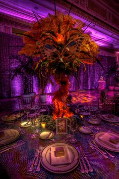 rio carnival party theme | Each table's centerpiece had a unique mask and treatment. Colors from ...