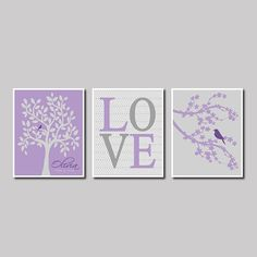 Purple Grape Violet Grey Gray Modern Birds Nursery Tree Branch Custom Name Birthday Baby Shower Gift Print Wall Decor Art Picture Bedding