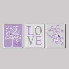 Purple Grape Violet Grey Gray Modern Birds Nursery Tree Branch Custom Name Birthday Baby Shower Gift Print Wall Decor Art Picture Bedding