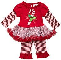 Rare Editions Baby Girls Candy Cane Legging Set 12 Month Red multi