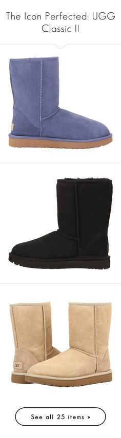 """""""The Icon Perfected: UGG Classic II"""" by zappos ❤ liked on Polyvore featuring shoes, boots, short fur boots, faux fur boots, ankle boots, heavy boots, platform boots, traction shoes, grip shoes and ugg® australia shoes"""
