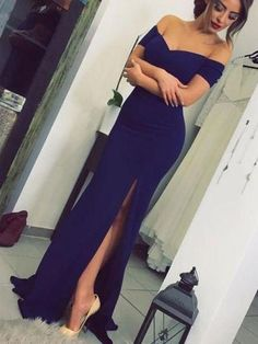 classic navy blue mermaid long evening dress with side slit, 2018 off the shoulder long prom dress homecoming dress party dress evening dress Mermaid Evening Dresses, Formal Evening Dresses, Elegant Dresses, Navy Blue Evening Gown, Blue Mermaid Prom Dress, Sexy Dresses, Off Shoulder Mermaid Dress, Formal Prom, Formal Gowns