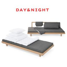 Tapio Anttila Day&Night sofa bed - You can make one double bed or two single beds. Inside the backrest pillows you can find sleeping pillows, duvets and blankets.