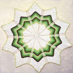 Green Chevron Doily 20 Diameter Crochet by RecycledSerendipity