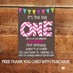 It's the Big One Printable First Birthday Party Invitation with FREE Thank You Card on Etsy, $15.00