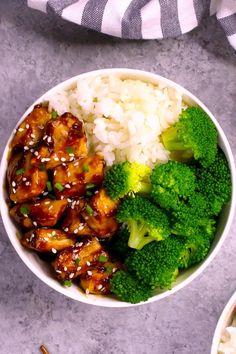 Teriyaki Chicken Bowl recipe is an easy 15 minute Japanese rice bowl recipe with delicious chicken teriyaki sauce. No marinading needed! Teriyaki Chicken Bowl Recipe, Honey Teriyaki Chicken, Chicken Rice Bowls, Easy Chicken Recipes, Chicken Freezer, Turkey Recipes, Healthy Freezer Meals, Freezer Cooking, Freezer Recipes