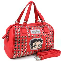 Betty Boop® Cut-out Design Fashion Satchel with Glitter Accents - Red