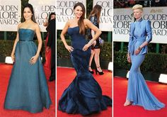 Blue! More red carpet looks from Golden Globes. Repin your favorites! #goldenglobes