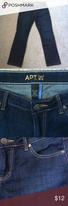 Comfy modern fit dark jeans Versatile color and comfortable. 99% cotton, 1% spandex. Just the right amount of stretch without losing its shape. 29 inch inseam. Apt. 9 Jeans Straight Leg