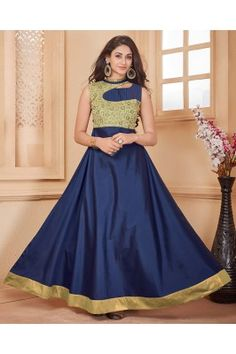 Blue and Beige Embroidered Taffeta Anarkali Suit Party Wear Gowns Online, Party Gowns, Designer Party Dresses, Designer Gowns, Designer Kurtis Online, Embroidered Silk, Buy Dress, Bridal Dresses, Pakistan