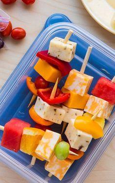 Snack idea. Mini skewers of fresh fruit, veggies, cheese, etc.