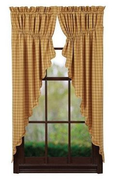 Amherst Scalloped Lined Prairie Curtains - Primitive Star Quilt Shop