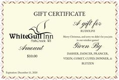 The White Gull Inn | Door County, WI. Gift CertificatesGullGift Cards