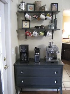 Home coffee/tea station - perfect for all your coffee/tea supplies and mugs, and doesn't steal regular counter space in the kitchen