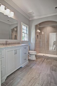 Transitional 3/4 Bathroom with Complex marble counters, Complex Marble, Vanwyke Cabinet Door Style, frameless showerdoor