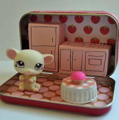 Tiny travel tin doll house