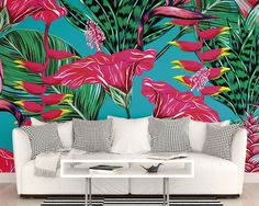 Large Photo Wallpaper Wall Mural for Bedroom Decor, Living Room Wall Decor, Office or Dining Room Wall Art - Tropical Fuscia Wallpaper by PurpleEyeDesign on Etsy Dining Room Walls, Wall Decor Living Room, Mural Wallpaper, Living Room Decor, Wallpaper Living Room, Home Decor, Living Room Wallpaper Murals, Wall Murals Bedroom, Area Rug Decor
