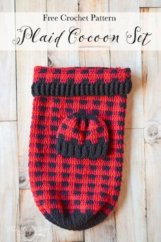 FREE Crochet Pattern: First day of Plaid Week is this adorable Crochet Plaid Baby Cocoon and Hat Set! Perfectly adorable for your fall or holiday baby!