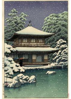 Kawase Hasui- Temple Ginkakuji à Kyoto (pavillon d'argent),   sous la neige 1951