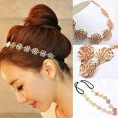 Womens Fashion Metal Chain Jewelry Hollow Rose Flower Elastic Hair Band Headband Jewelry Drop Shipping Headwear 0019-in Hair Accessories from Women's Clothing & Accessories on Aliexpress.com | Alibaba Group