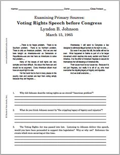 Lyndon B. Johnson's Voting Rights Speech before Congress - March 1965 Primary And Secondary Sources, Teaching Us History, Civil Rights Movement, Figurative Language, Jfk, Social Studies, Lesson Plans, American History