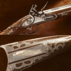 BARRY GOLDWATER'S CECIL BROOKS FLINTLOCK RIFLE: This Kentucky long arm was crafted by Ohio resident Cecil Brooks, who had been making presentation guns for the NRA since the first one was handed out in 1955. It was presented to Arizona Senator Barry Goldwater in 1971.