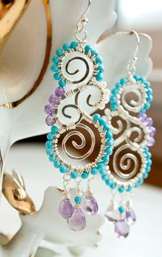 Sterling Silver Wire Wrapped Artisan Chandelier Earrings with Turquoise, Amethyst and Pearl Beads