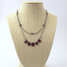 Multi strand garnet necklace, sterling silver chain, maroon fresh water pearls, pyrite beads, free form shape gemstone