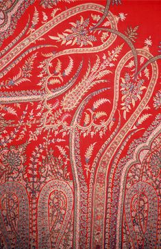 Red shawl with a dense arrangement of elongated paisley and floral motifs. Embroidery Motifs, Indian Embroidery, Hand Embroidery Designs, Paisley Art, Paisley Design, Paisley Pattern, Kashmiri Shawls, Red Shawl, Floral Motif