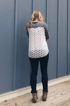 Pixley Dido Mixed Print Knit Top not the biggest fan of polka dots but I like when subtle in this mix material top
