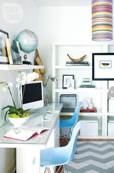 30 Chic Workspaces From Pinterest and Instagram | StyleCaster  White shelving...