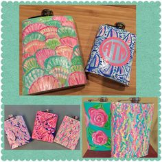 Lilly Pulitzer inspired hand painted metal flasks. by luckyleaf